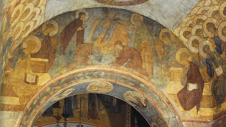 Престол уготованный, Богоматерь, Иоанн Предтеча, Адам, Ева, ангелы, апостолы Петр и Павел