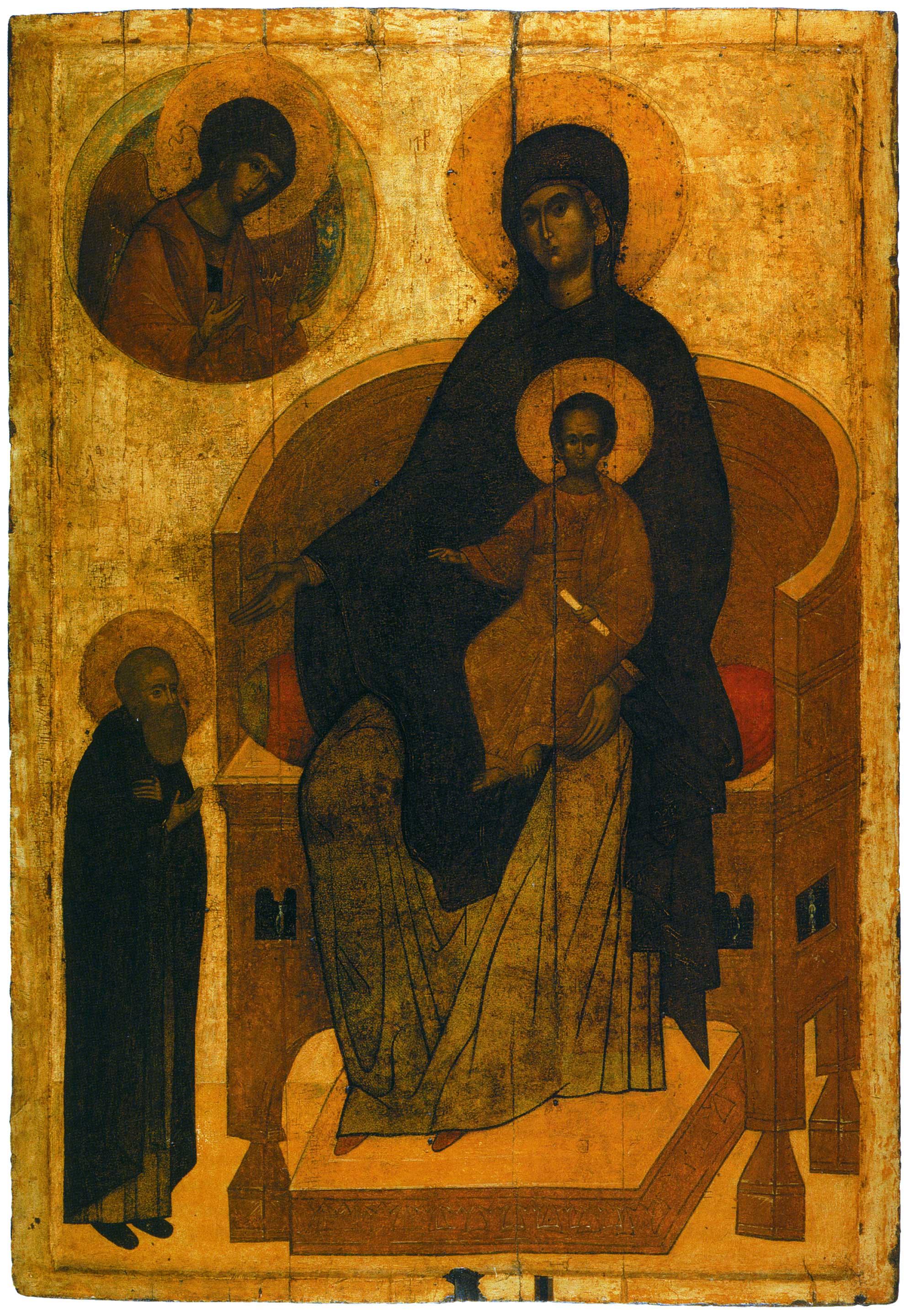 Богоматерь с Младенцем, архангелом Гавриилом и предстоящим в молении прп.Сергием Радонежским