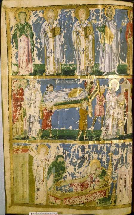 Святой Григорий Богослов с родителями. Погребение святого Кесария Назианзина. Кончина святой Горгонии - Творения Григория Назианзина [gr. 510], л. 43 об.