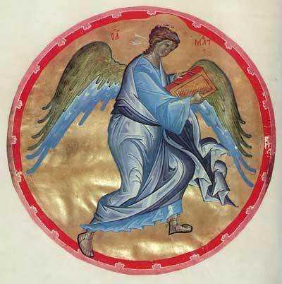 Ангел — символ евангелиста Матфея - Евангелие Успенского собора Московского Кремля (Морозовское Евангелие) [№ 11056; КН-34], л. 51 об.