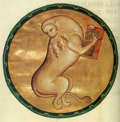 Лев — символ евангелиста Марка - Евангелие Успенского собора Московского Кремля (Морозовское Евангелие) [№ 11056], л. 100 об.