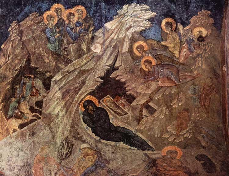 Рождество Христово. Вторая половина XIV в. Церковь Богоматери Перивлепты, Мистра, Греция