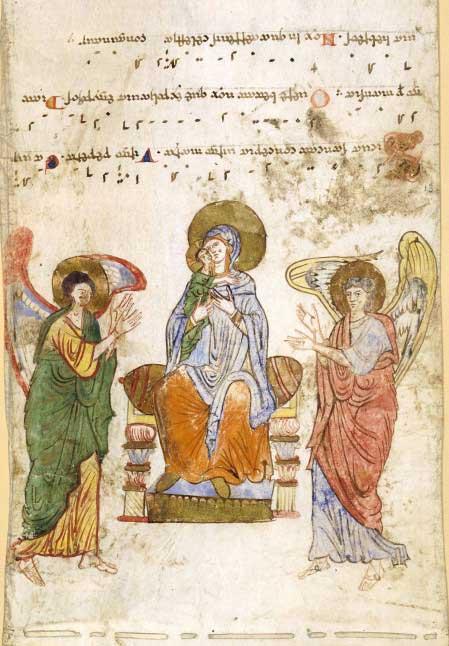Богоматерь с Младенцем и ангелами - Экзультет [NllesAcq.lat.710], свиток