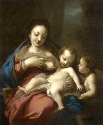 Богоматерь с младенцем Христом и ангелом