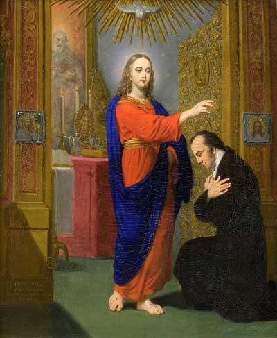 Христос, благословляющий коленопреклоненного мужчину. (Сон Боровиковского)
