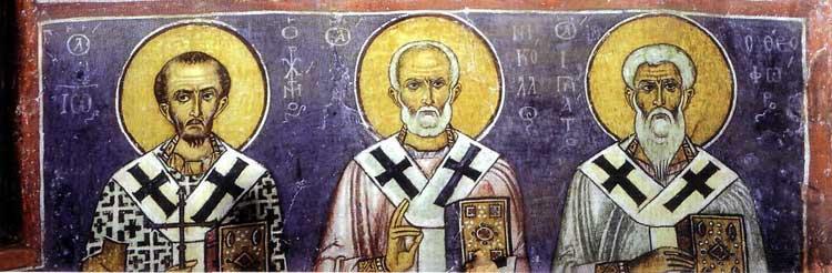 The prelates John Chrysostom, Nicolas and Ignatius Theophorus