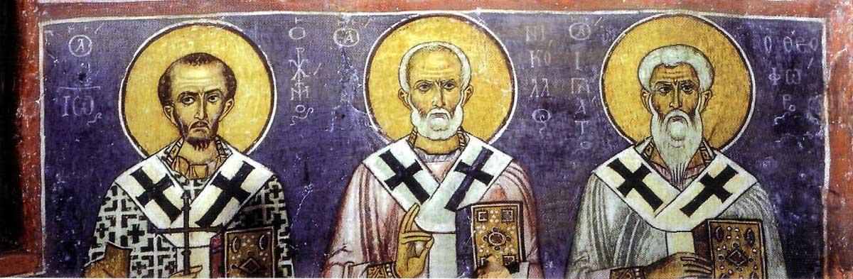 Свв. Иоанн Златоуст, Николай Мирликийский и Игнатий Богоносец
