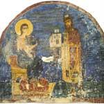 Князь Ярослав Всеволодович с моделью храма Спаса перед Христом