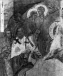 [Илл. с. 104] Успение. Фреска церкви Рождества на Кладбище в Новгороде. Конец XIV в. Левая часть композиции