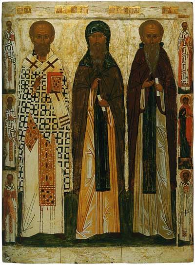 Святитель Николай Мирликийский, преподобные Антоний Великий и Афанасий Афонский