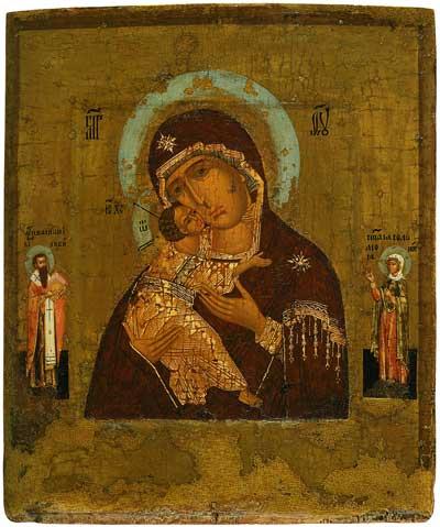 Богоматерь Владимирская, со святыми Василием Великим и Соломонией на полях