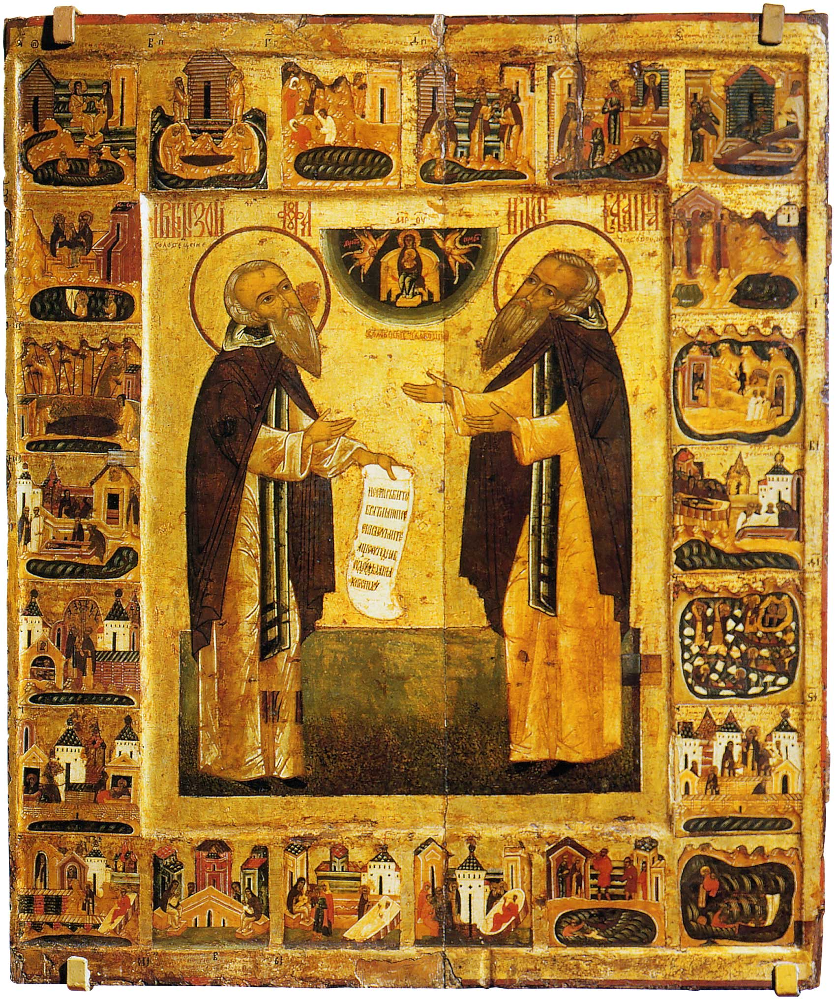 Преподобные Зосима и Савватий Соловецкие, с житием в 22 клеймах