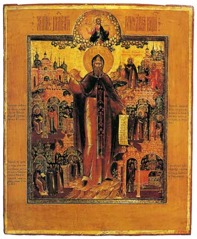 Преподобный Михаил Клопский, со сценами жития