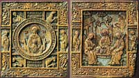Богоматерь Знамение, с символами евангелистов и избранными святыми. Троица, с избранными святыми