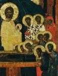[Илл. с. 107] Успение. Правая часть иконы. Конец XIV в. (1390-е годы). Новгородский музей (кат. № 22)