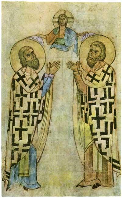 Василий Великий и Иоанн Златоуст - Уваровская Кормчая [Увар. 124],