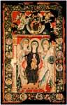 Богоматерь на троне, Христос на троне, двенадцать апостолов в медальонах
