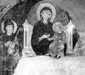 Богоматерь с Младенцем на троне, со святыми Саввой и Андреем