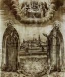 Вид Троице-Сергиева монастыря с преподобными Сергием и Никоном