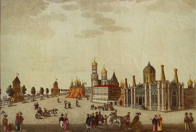 Вид Вознесенского монастыря и его окрестностей в Москве