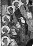 [Илл. с. 35] Сошествие Св. Духа. Левая часть иконы. Первая треть XV в. Новгородский музей (кат. № 3)