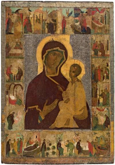 Тихвинская икона Богоматери, с житием Иоакима, Анны и Богоматери
