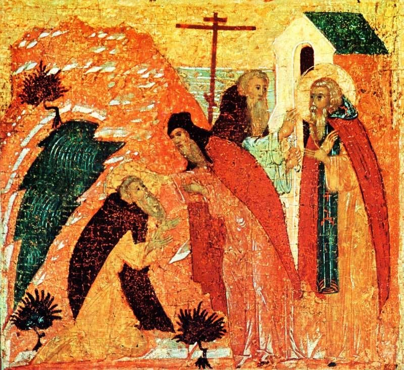Савватий просит игумена Нафанаила исповедовать его и причастить. Игумен Нафанаил причащает прп. Савватия
