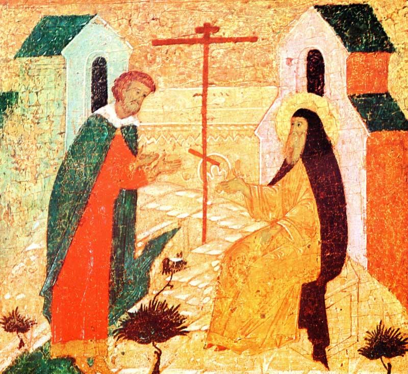 Савватий благословляет новгородского купца Иоанна