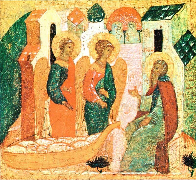 Ангелы привозят Зосиме хлеб, муку и масло в кереже