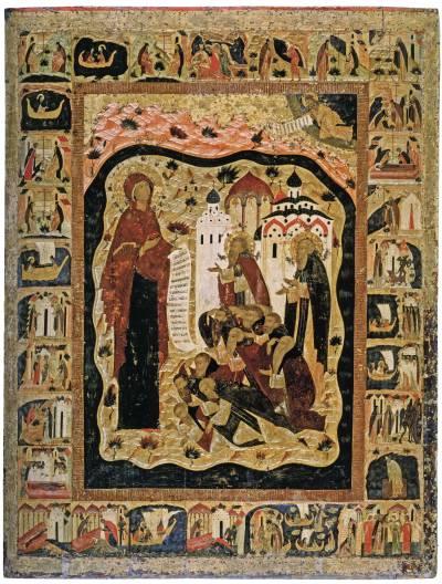Богоматерь с предстоящими Савватием и Зосимой Соловецкими, с житием Савватия и Зосимы в 29 клеймах