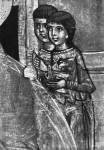 [Илл. с. 121] Женщины. Деталь иконы «Рождество Богоматери», с избранными святыми. Вторая половина XIV — начало XV в. ГТГ (кат. № 28)
