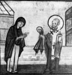 [Илл. с. 126] Никола возвращает ковер жене старца. Клеймо иконы «Никола», с житием. Конец XIV — начало XV в. ГРМ (кат. № 35)