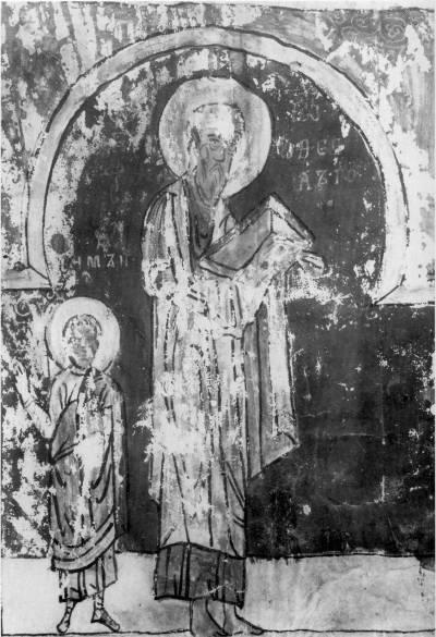 Евангелист Иоанн Богослов и апостол Симон - Симоновское Евангелие (Евангелие Георгия Лотыша) [ф. 256, Рум. № 105],