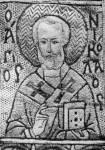 [Илл. с. 255] Св. Николай. Деталь шитой епитрахили. XV в. Монастырь Иоанна Богослова на острове Патмос