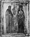 Преподобный Савва Освященный и Богоматерь с Младенцем