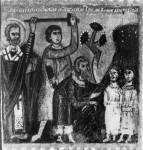 [Илл. с. 311] Кат. № 13. Клеймо. Избавление «трех мужей» от меча