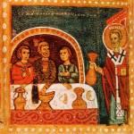 [Илл. с. 312] Кат. № 13. Клеймо. «Никола кормит братию»