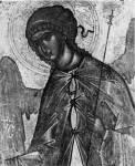 [Илл. с. 45] Архангел Гавриил. Деталь иконы из деисусного чина. Первая половина XV в. (около 1414 г.?). ГТГ (кат. № 4)