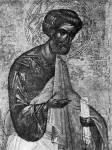 [Илл. с. 46] Апостол Петр. Деталь иконы из деисусного чина. Первая половина XV в. (около 1414 г.?). ГТГ (кат. № 4)