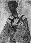 [Илл. с. 43] Иоанн Златоуст. Деталь иконы из деисусного чина. Первая половина XV в. (около 1414 г.?). ГТГ (кат. № 4)