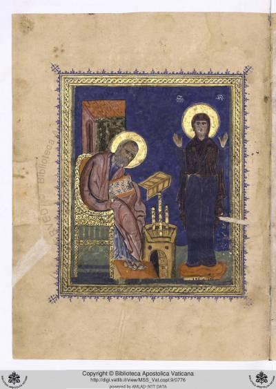Евангелист Иоанн Богослов и Богоматерь - Евангелие [Vat. copt. 9], л. 388 об.
