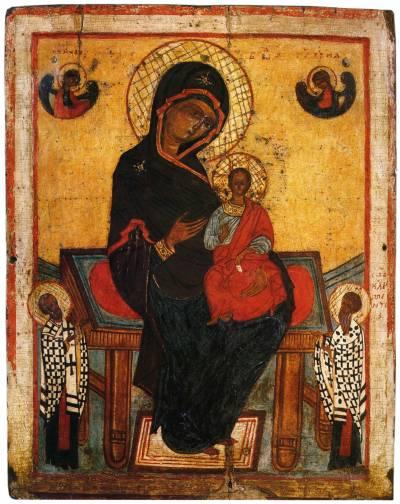 Богоматерь на престоле с предстоящими святителями Николаем и Климентом