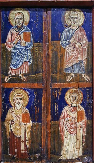 Апостолы Петр и Павел, святители Николай и Иоанн Златоуст