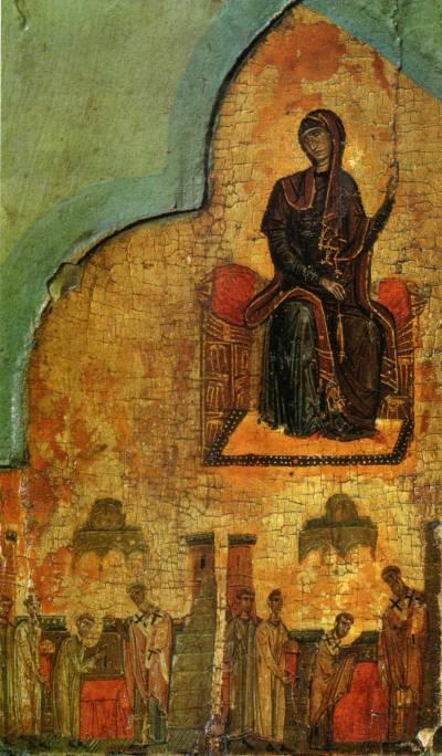 Богоматерь из «Благовещения» и две сцены из жития свт. Николая