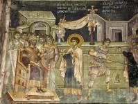 Св. Георгий перед царем. Прободение св. Георгия копьем