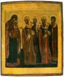 Богоматерь с Младенцем и предстоящими ростовскими святителями Леонтием, Исаией, Игнатием и Афанасием, архиепископом Александрийским
