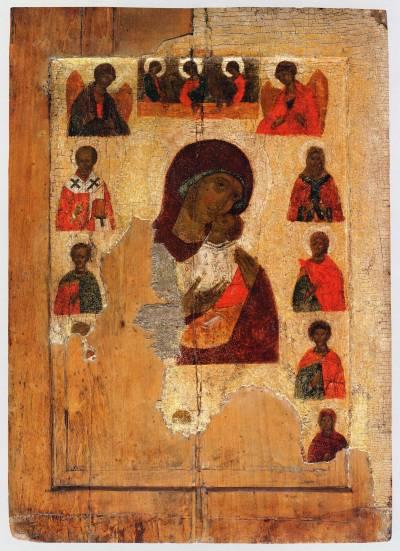 Богоматерь Умиление, с Троицей, архангелами и избранными святыми