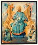 Спас на престоле, с предстоящими святыми Павлом Новым и Александром Невским