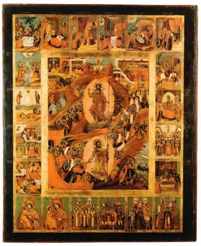 Воскресение — Сошествие во ад, с праздниками, избранными святыми и богородичными иконами