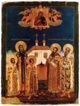 Святые ярославские князья Феодор, Давид, Константин, Василий и Константин в молении пред иконой Богоматери Толгской